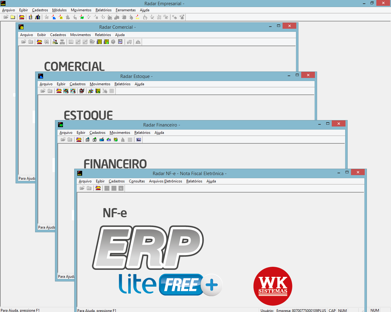 Módulos do ERP Lite Free Plus